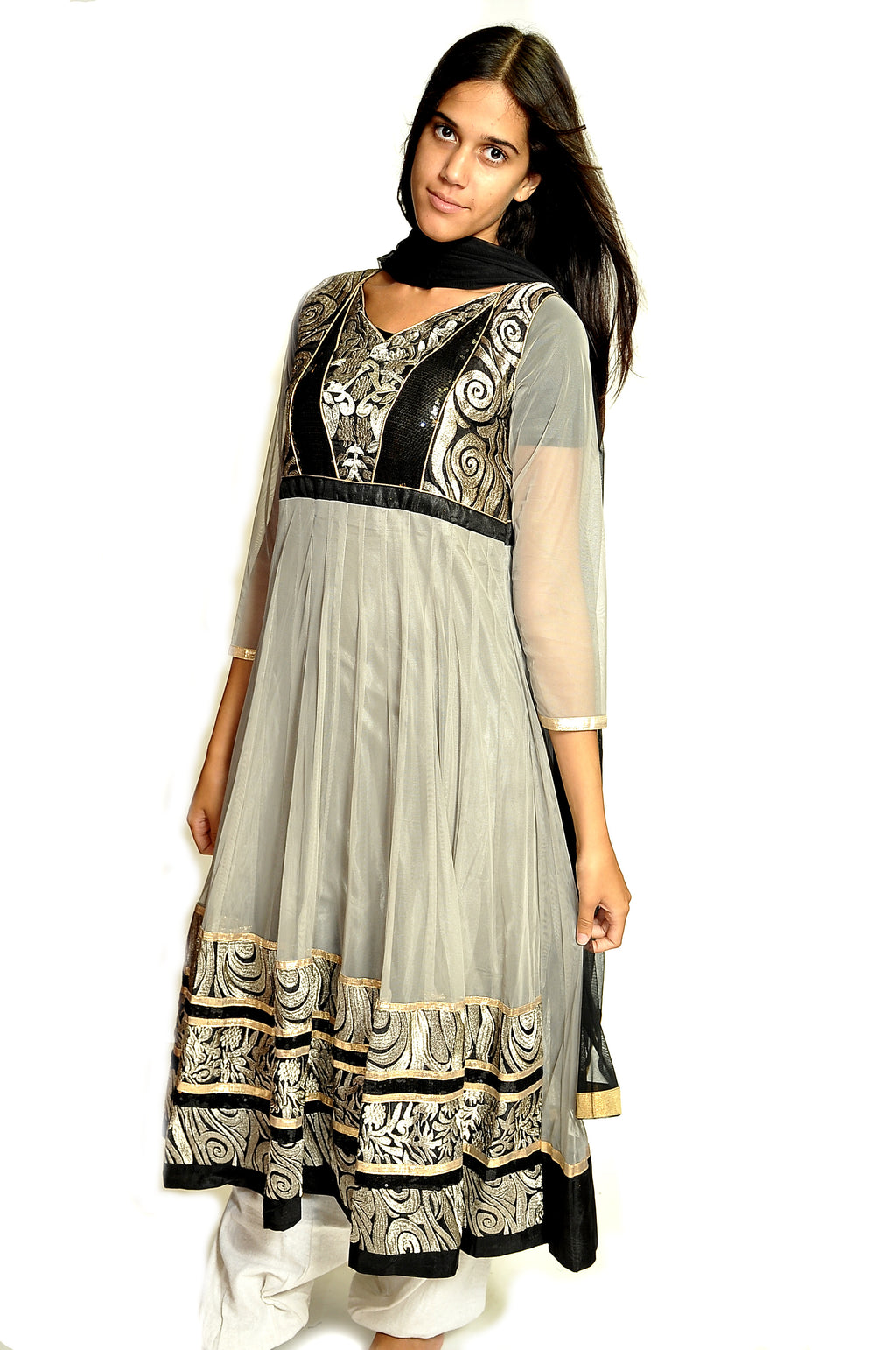 Formal Gray and Black Anarkali