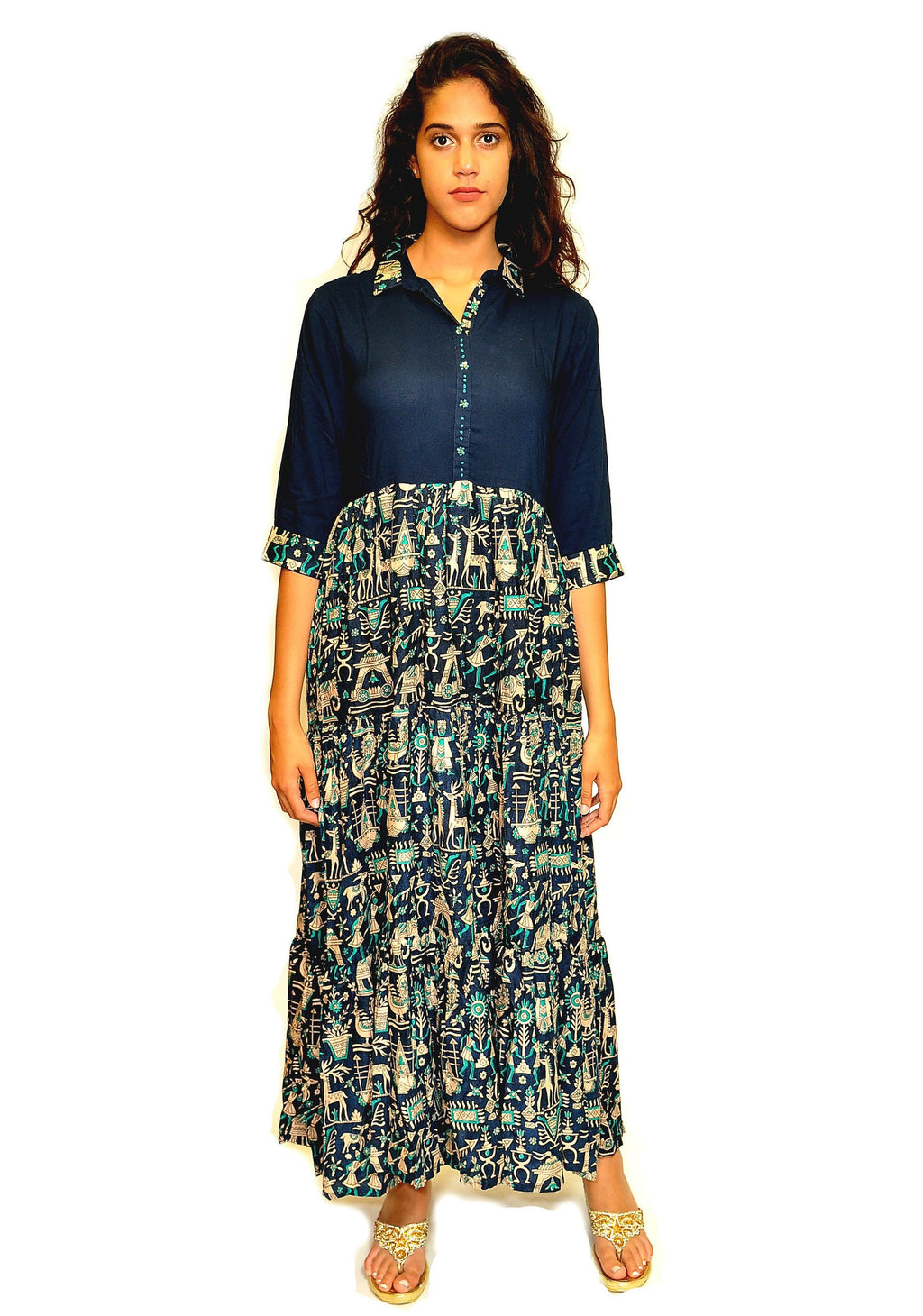 Floral Print Navy Blue Dress