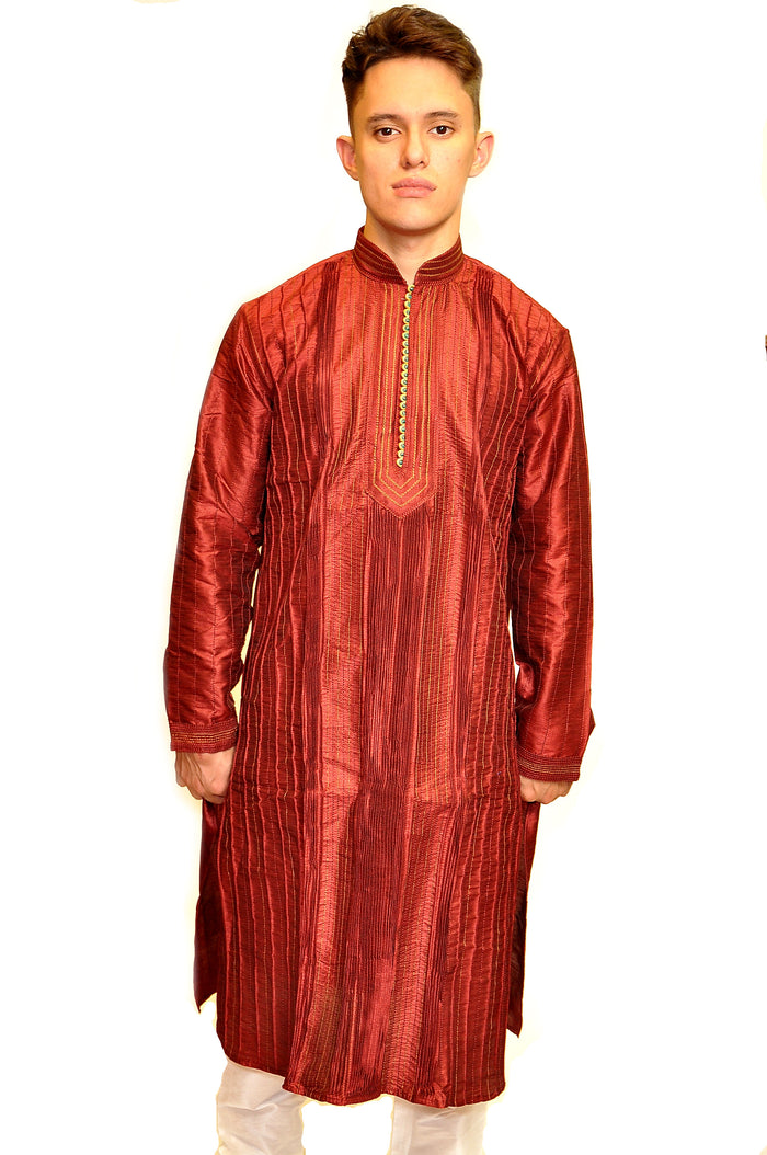 Formal Silk Maroon Pintuk Kurta
