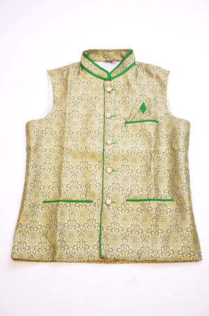 Green and Ivory Silk Brocade Vest