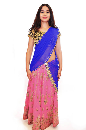 Hot Pink and Cerulean Lehenga