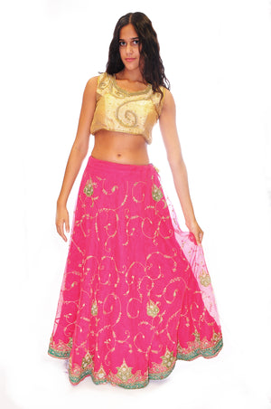 Fuchsia Lehenga Skirt with Golden Embroidered Crop