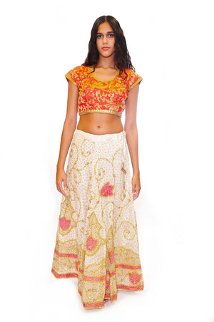 Ivory with Gold Embroidery Lehenga Skirt