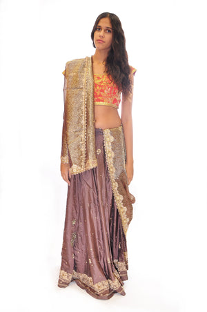Formal Graphite and Blood Orange Bridal Lehenga