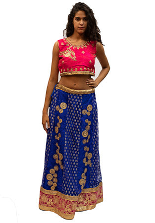 Pink and Blue Lehenga