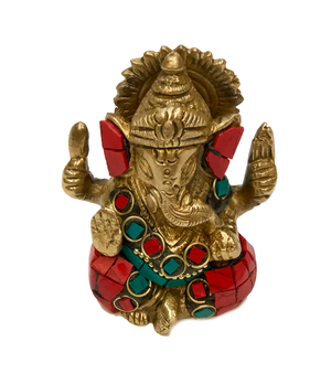 Brass Ganesha Turquoise and Coral Mosaic Idol