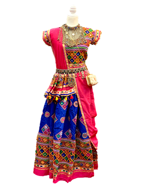 Blue & Fuschia Cotton Chaniya Choli Lehenga