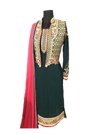 Dark Green  kurta With Detachable Embroidered Vest
