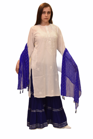 Cotton Daisy White Embroidered Long Kurti