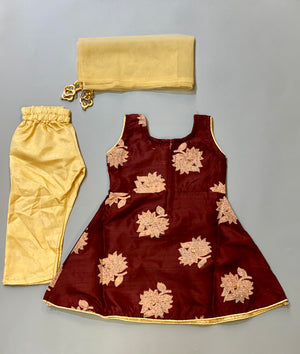 Silk Embroidered  Cinnamon Brown With Tawny Brown Flowers Girl's Salwar Suit