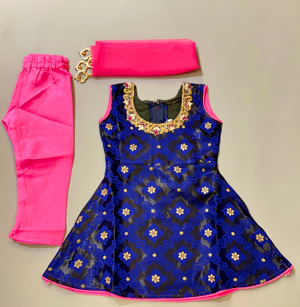Banarasi Silk Royal Blue With Crow Kids Salwar Suit
