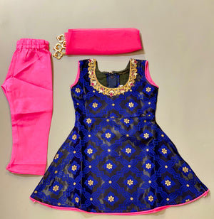 Banarasi Silk Royal Blue With Crow Black Girl's Salwar Suit