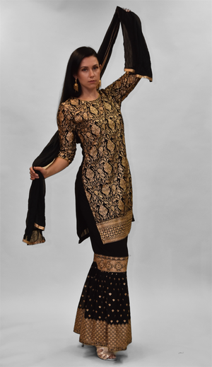 Fancy Heavy Embroidered Charcoal Black Sharara Suit