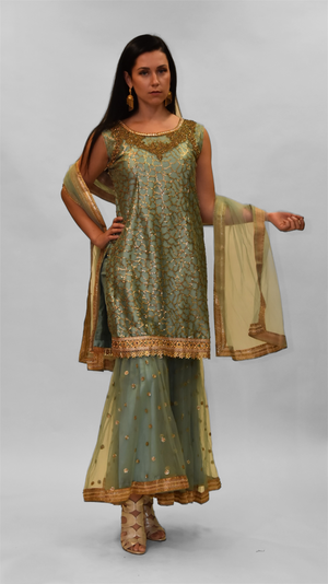 Fancy Heavy Embroidered Gloaming Green Sharara Suit