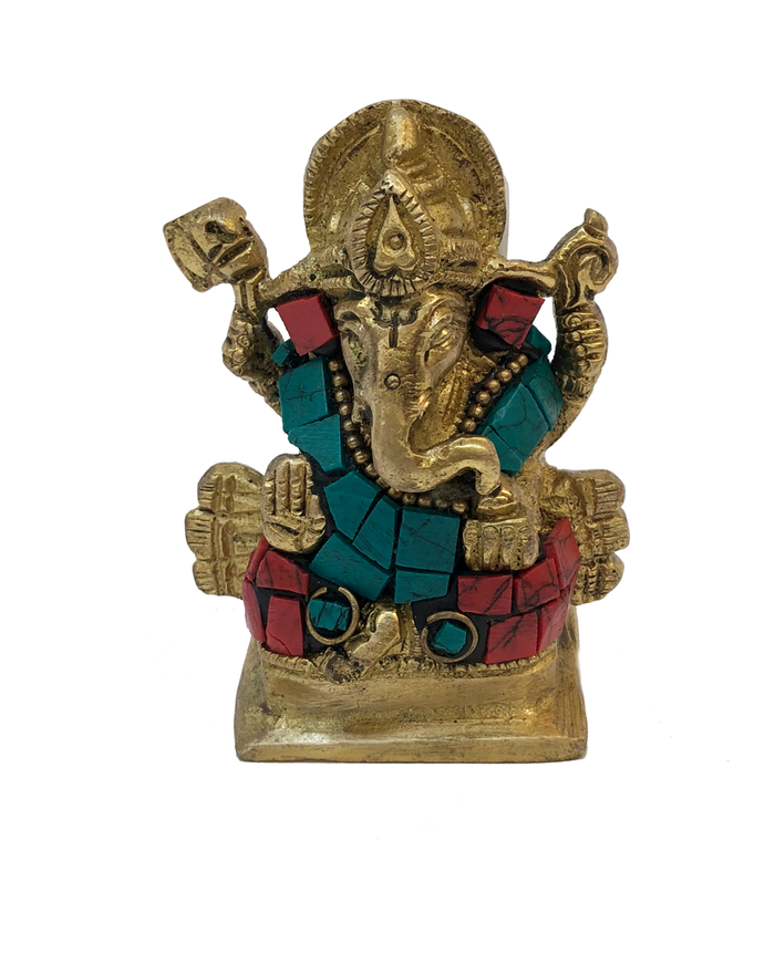 Brass Ganesha Turquoise and Coral Mosaic Statue