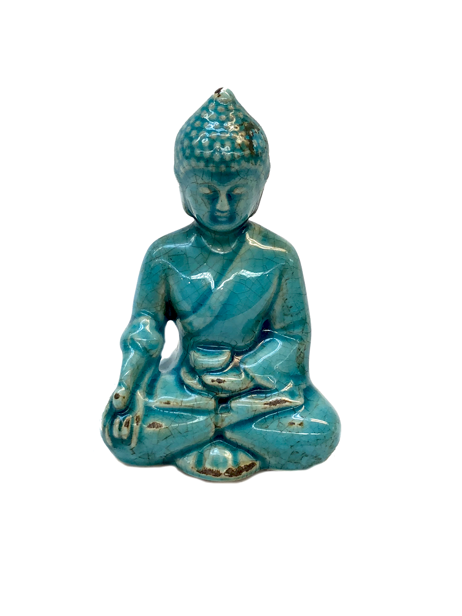 Ceramic Teal Blue Buddha (Meditation)
