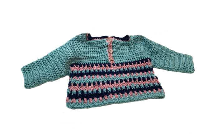 Crochet Blue Sea Foam Baby Sweater