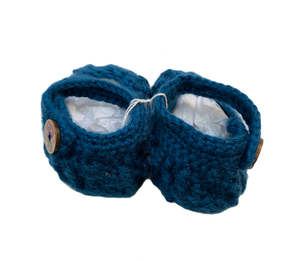 Blue Crochet Baby Booties