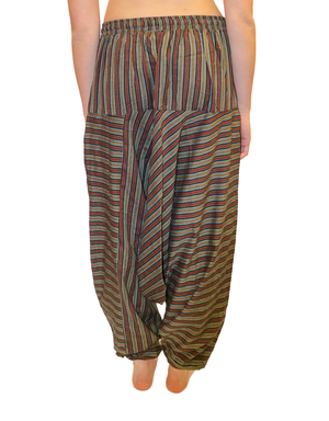 Green & Maroon Striped Cotton Harem Pants