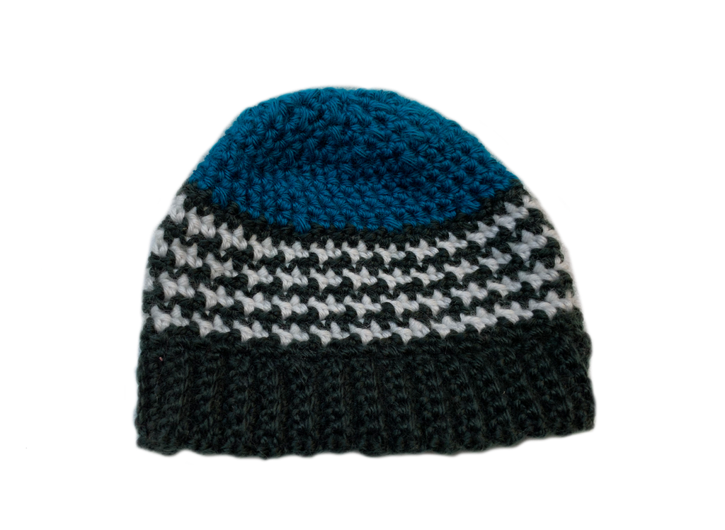 Blue Crochet Houndstooth Stitch  Hat
