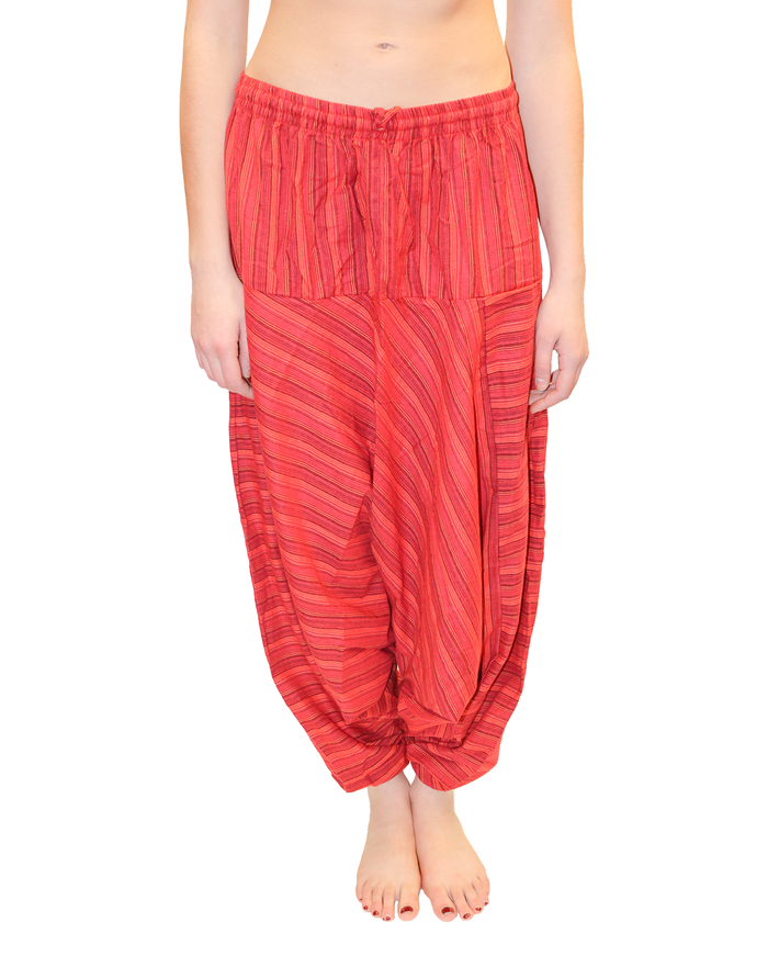 Imperial Red Striped Cotton Harem Pants