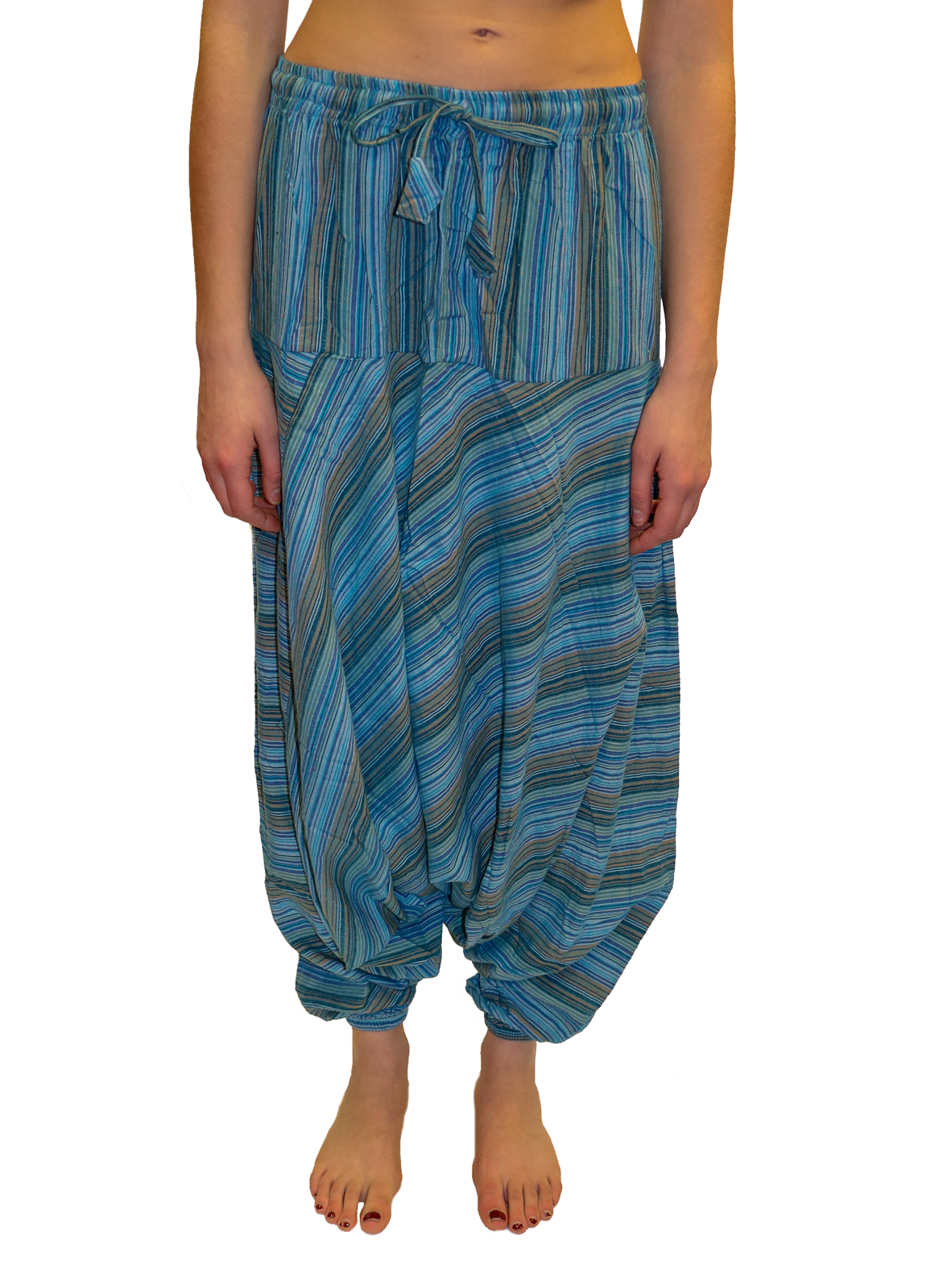 half price top-rated genuine choose clearance Light Blue Striped Cotton Harem Pants