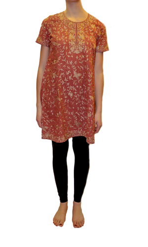 Silk Rust With Gold Embroidered Tunic / Kurti
