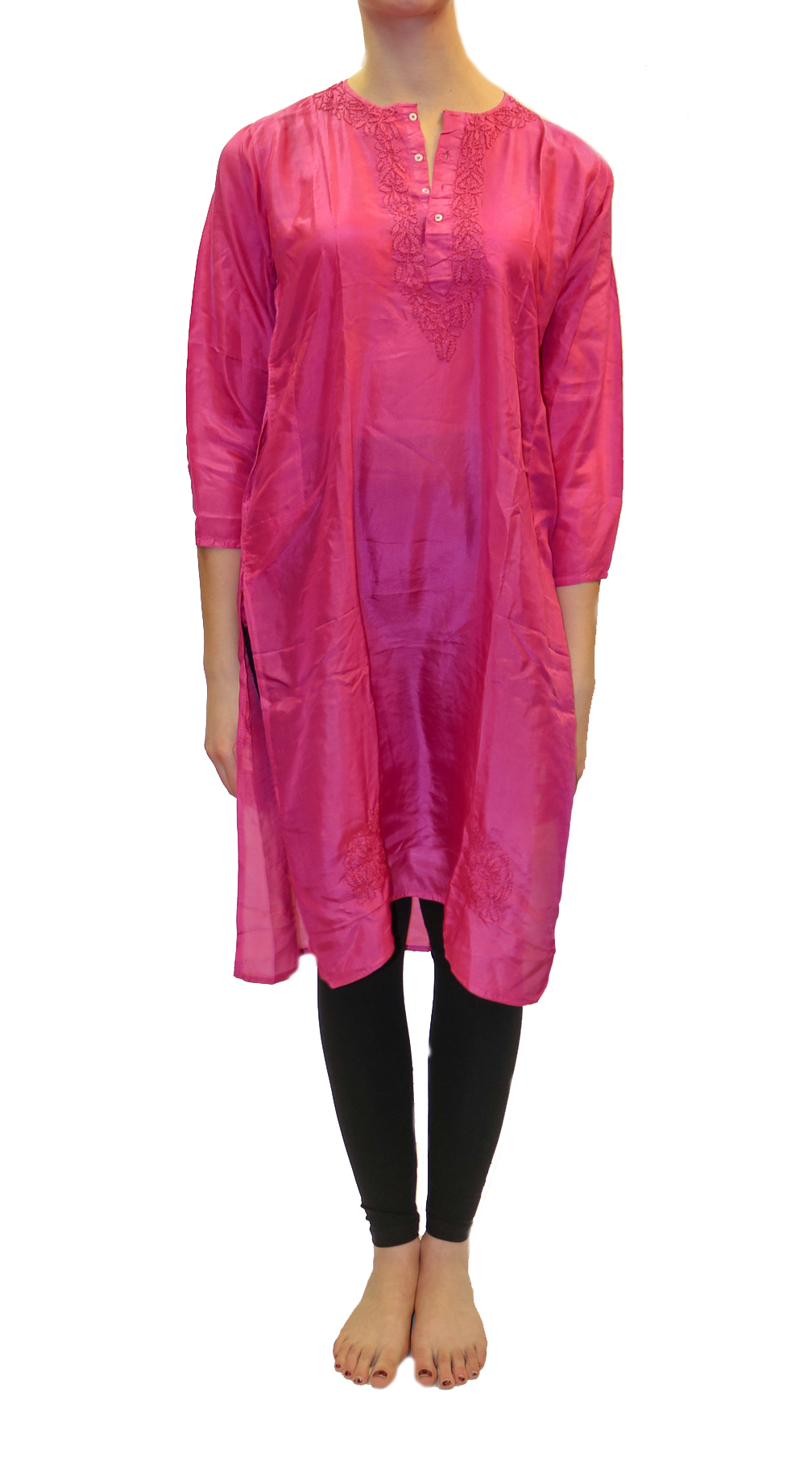 Silk Long Pink Embroidered Kurta