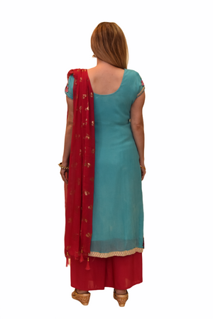 Silk Turquoise Blue Embroidered Kurti