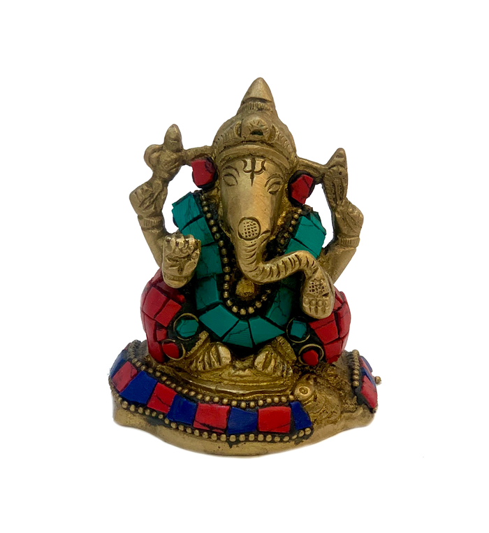 Brass Ganesha With Turquoise And Coral Mosaic Statue