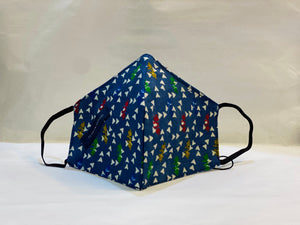 Unisex Designer Berry Blue Abstract Triangle Pattern Cloth Face Masks