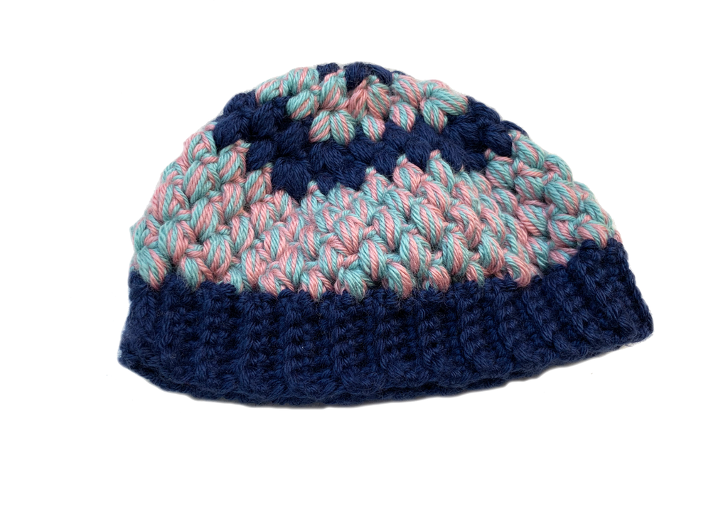 Crochet Blue Puff Stitch Baby Hat