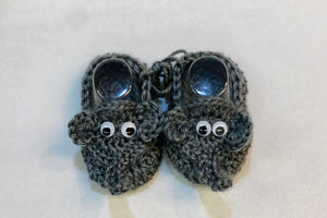 Crochet Grey Elephant Baby Booties