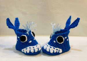 Handmade Crochet Blue Whale Baby Booties