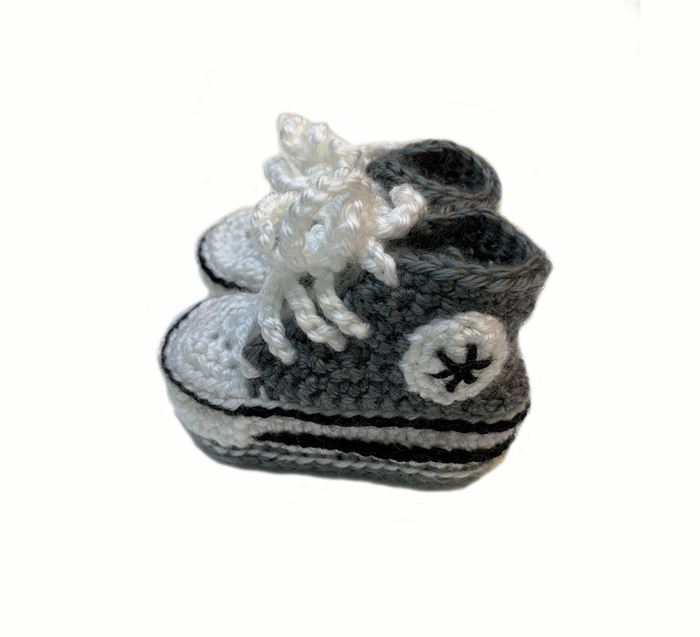 Grey And White Converse Style Crochet baby Booties