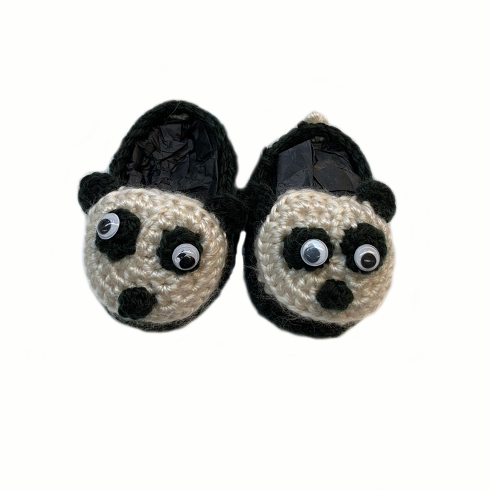 Black & White Panda Crochet Baby Booties