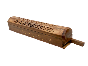 Wooden Hand Carved Rectangle Box Incense Holder
