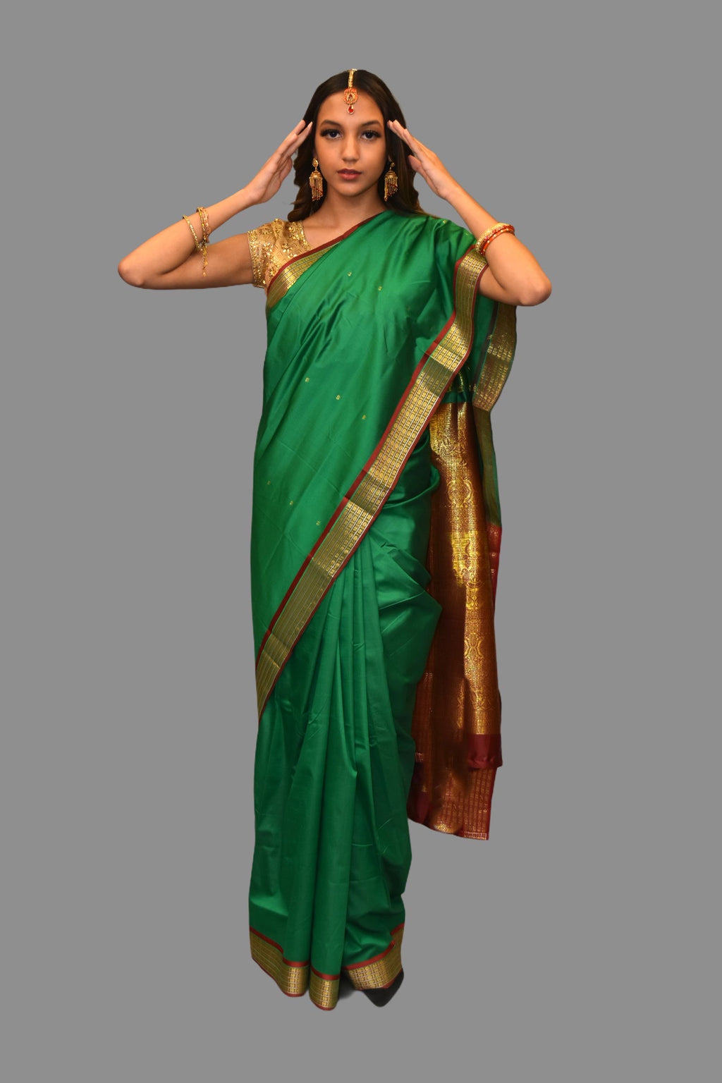 Silk Dark Green Saree With Contrast Maroon Border