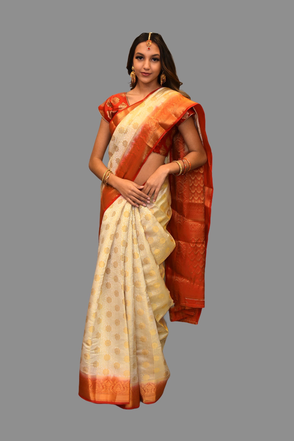 Silk Printed Off White With Contrast Red Border Saree