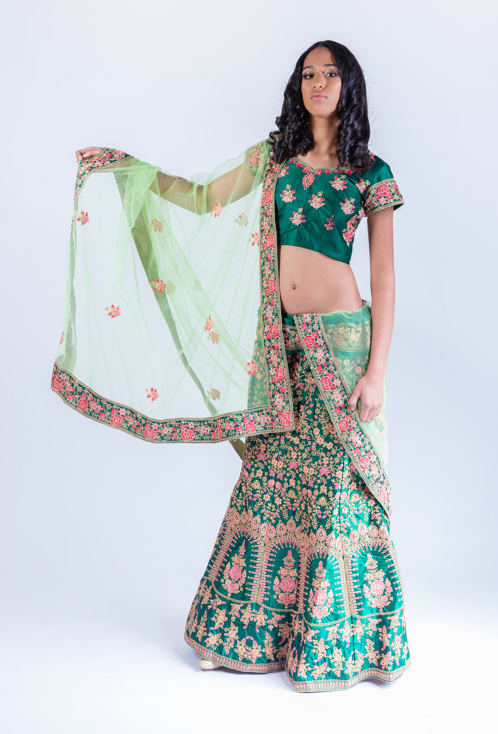 Silk Sacramento Green With Watermelon Pink Heavy Embroidered Lehenga Set