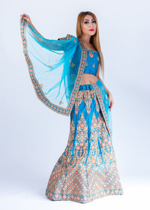 Silk Olympic Blue With watermelon Pink Heavy Embroidered Lehenga Set