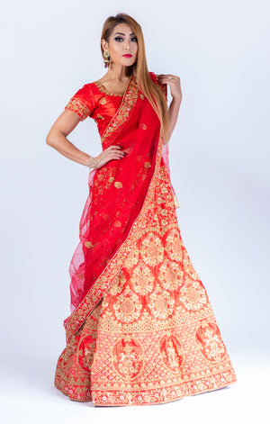 Heavy Embroidered Silk Chili Red Lehenga Set
