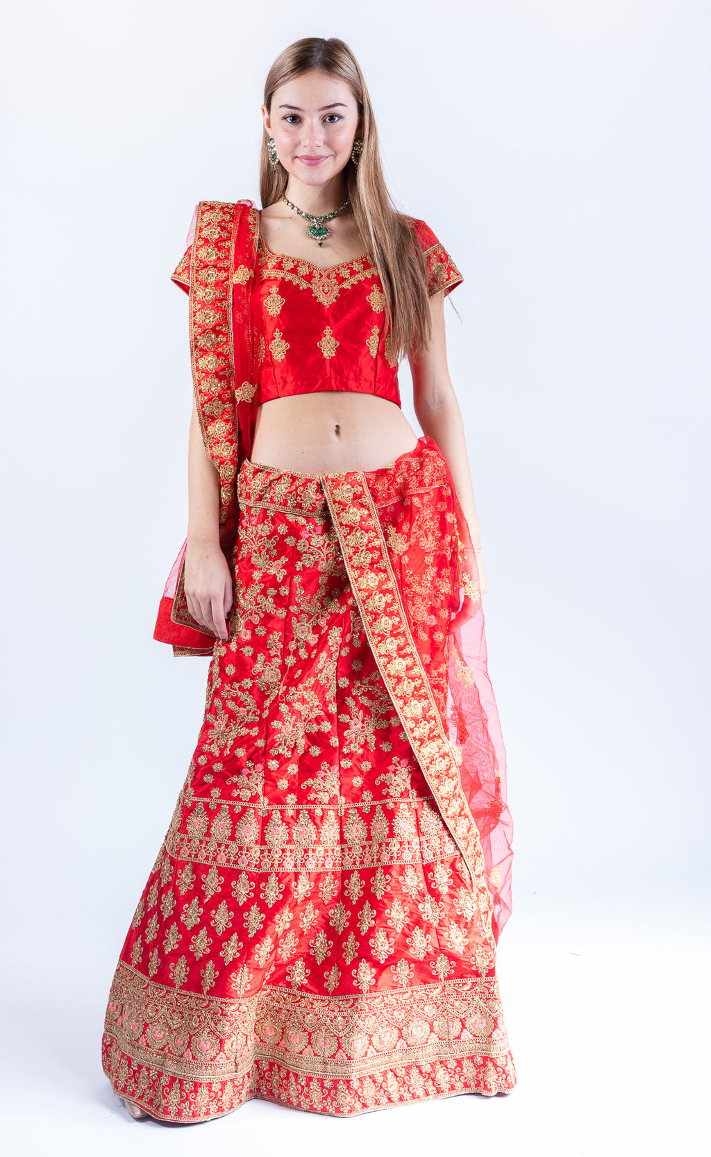Silk Crimson Red Heavy Embroidered Lehenga Set