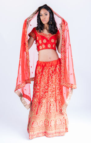 Silk Chili Red Heavy Embroidered Lehenga Set
