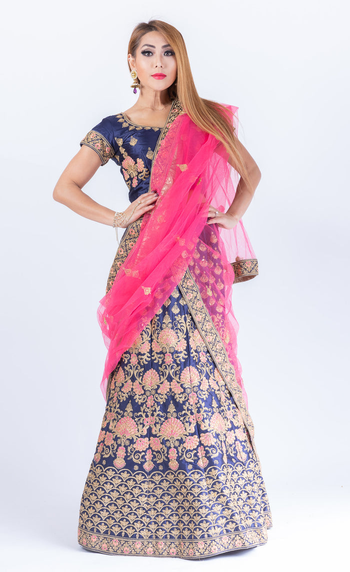 Silk Space Blue Heavy Embroidered Lehenga Set