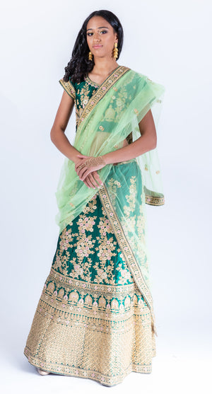 Silk Forest Green Heavy Embroidered Lehenga Set