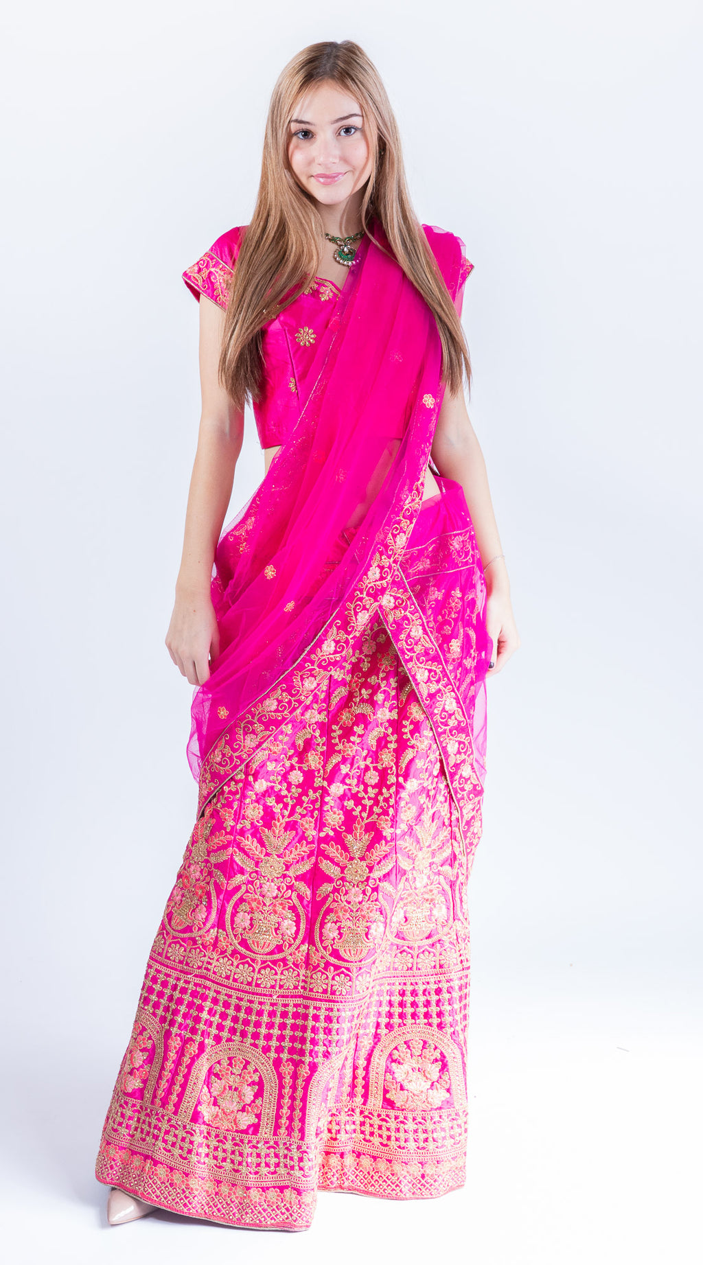 Silk Fuchsia Pink Heavy Embroidered Lehenga Set
