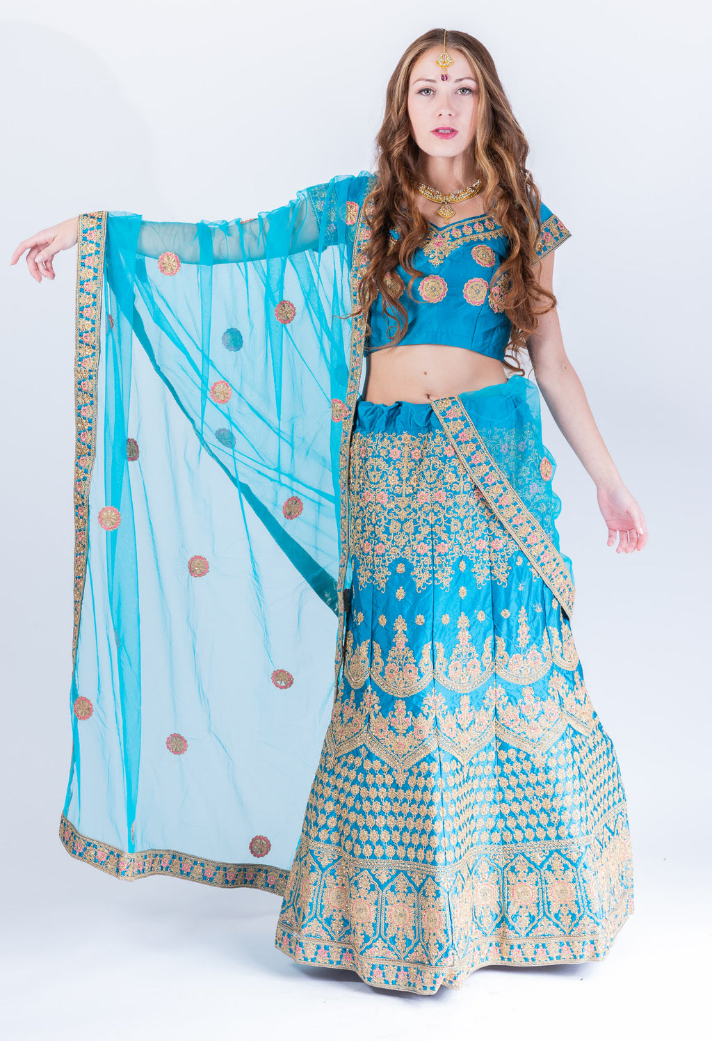 Silk Azure Blue Heavy Embroidered Lehenga Set
