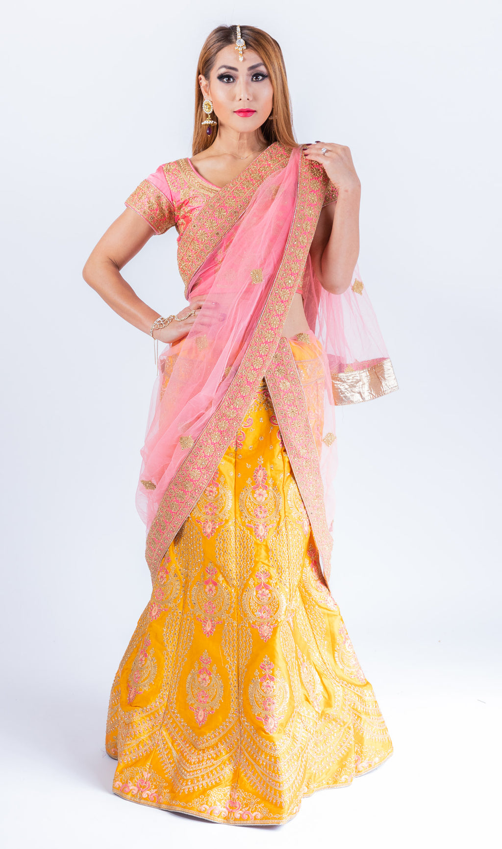 Silk Amber Yellow Heavy Embroidered Lehenga Set