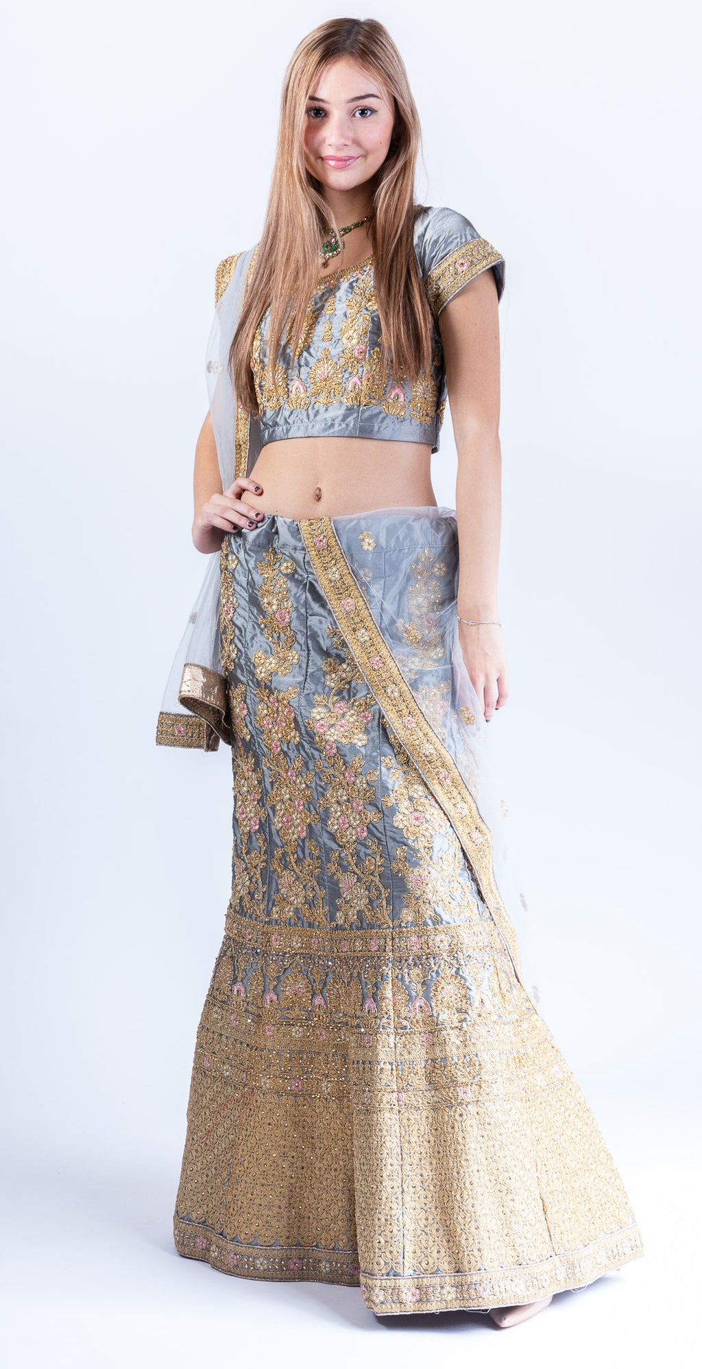 Silk Pewter Grey Heavy Embroidered Lehenga Set